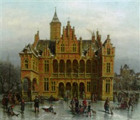 winter scene with skaters in front of a grand hall by victor vervloet
