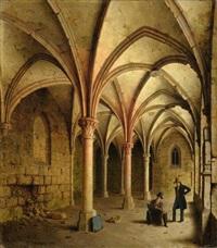 klostergang zu walkenried (mit einem selbstportrait des künstlers) by carl georg adolph hasenpflug