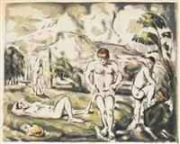 les baigneurs (grande planche) by paul cézanne