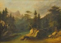 lesní krajina s lovcem by adolf kosárek