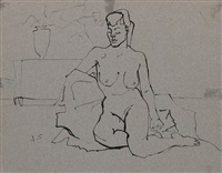 seated female nude by joseph solman