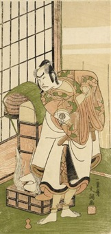 the actor onoe kikugoro i as sato tadanobu (hosoban) by ippitsusai buncho