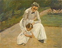 enkelin und kinderfrau beim spiel im garten (the artist's granddaughter and her nurse playing in the garden) by max liebermann