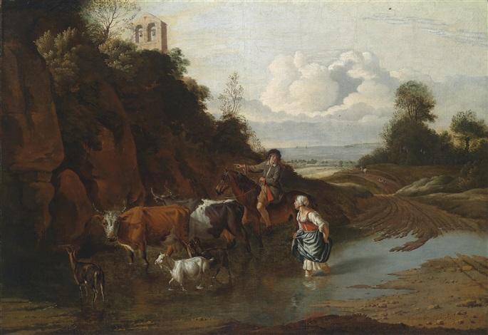 landschaft mit einem bauernmädchen einem reiter und vieh in einer furt by jan siberechts