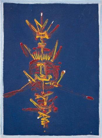 Composition A Fond Bleu Fonce By Georges Mathieu On Artnet