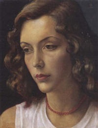 portrait of a woman, the artist's muse by imre goth