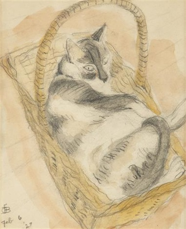 a cat in a basket by oscar florianus bluemner