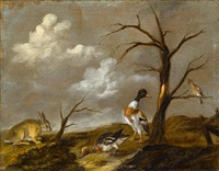 a rabbit with wildfowl in a landscape by jan vonck