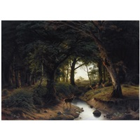 a stag calling to does across a stream by johann jacob reinhardt