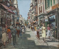 a busy street, south of france by james le jeune