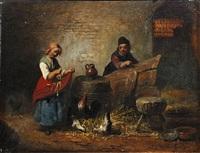 genre scene (+ genre scene; pair) by félix van den eycken