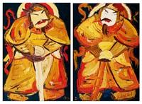 a.門神(一) b.門神(二) (a.door-god (1) b.door-god (2))(2 works) by pang yongjie
