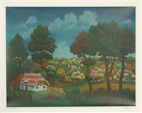 untitled - village landscape by ivan generalic