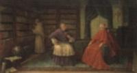 geistliche in der bibliothek bei einer lesenstunde by bruno blätter
