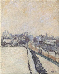 stamford brook green, snow by lucien pissarro