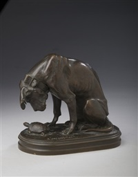 figure of a dog with turtle by alfred jacquemart