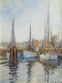 haven with fishing boats by julius christian rehder