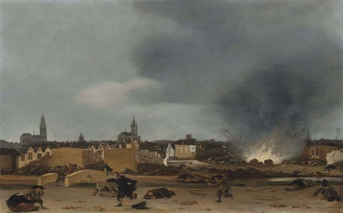 a view of the city of delft during the explosion of 1654 by egbert lievensz van der poel