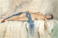 reclining nude with a blue shawl by richard durando-togo
