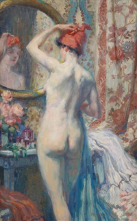 jeune femme nue se mirant by antoine daens