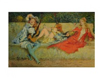pre-raphaelite figures on a garden bench by s.w. van schaick