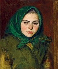 girl in green kerchief by oszkár glatz