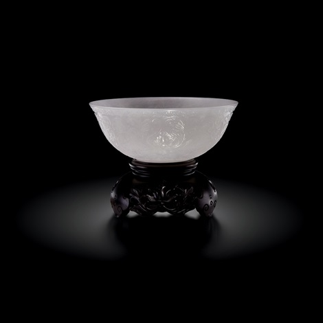 qianglong white jade xi fan lotus pattern bowl