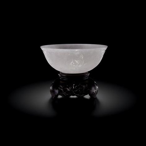 qianglong white jade xi fan lotus pattern bowl