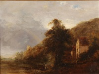 landscape with cottage by j.w.h. handley
