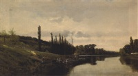 péniches dans un paysage fluvial by gustaf adelsward