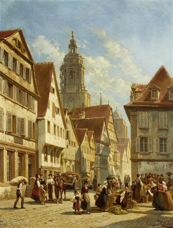 the market square, amsterdam by jacques françois carabain