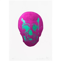 fuschia pink lime green skull