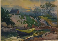 sunset from josias river, ogunquit, maine by henry w. rice