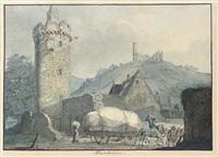 view of weinheim on the river necker by carl philipp fohr