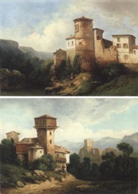 paysage d'italie by horace-antoine fonville