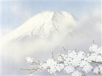 mountain peaks in spring by somei tsubouchi