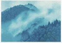 mountain and clouds (estampe) by shinkichi (kaii) higashiyama