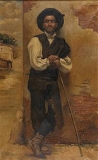 joven fumando by valentín de zubiaurre