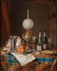 stillleben mit champagnerflaschen und tageszeitung by josef mansfeld
