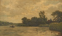 pêcheur dans un estuaire by jan willem van borselen