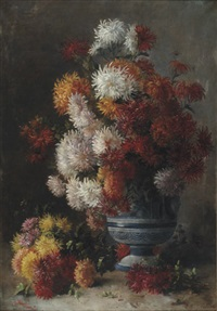 bouquet de dahlias by e. leroy-calmettes