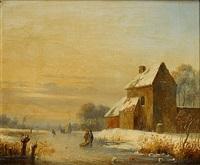 patineurs dans un paysage d'hiver by hermanus koekkoek the younger