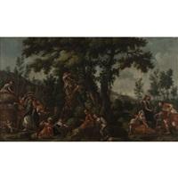 les vendangeurs; les chasseurs (pair) by filippo falciatore