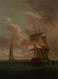 a two-decker rounding a lighthouse by thomas whitcombe