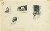 group of 3 studies of black life (3 works) by edward windsor kemble