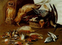 an owl on a perch with dead birds in a landscape by adriaen geurtsz boogaert