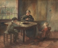 interior with mother and children by jacob simon hendrik kever