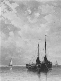 vissersschepen voor anker by johannes gysbert vogel the younger