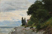 coastal scene from southern europe by christian peder mørch zacho