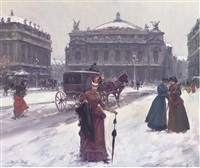 elegant figures outside the paris opera house by juan puig soler